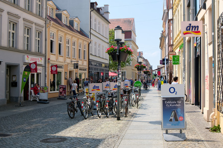 GREIFSWALD, GERMANY - MAY 24, 2016: Streets of historical center, view of the old part of the city, Mecklenburg-Vorpommern, Germany