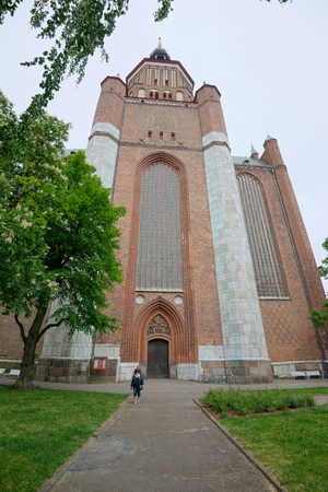 STRALSUND, GERMANY - MAY 26, 2016: St. Mary's Church (Marienkirche), Hanseatic city of Stralsund, Mecklenburg Western Pomerania