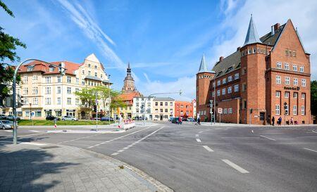 STRALSUND, GERMANY - MAY 26, 2016: Street view in city center,  Stralsund is a Hanseatic town in Mecklenburg-Vorpommern, Germany Editorial