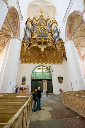 STRALSUND, GERMANY - MAY 26, 2016: Inside of St. Mary's Church (Marienkirche), Hanseatic city of Stralsund, Mecklenburg Western Pomerania Editorial