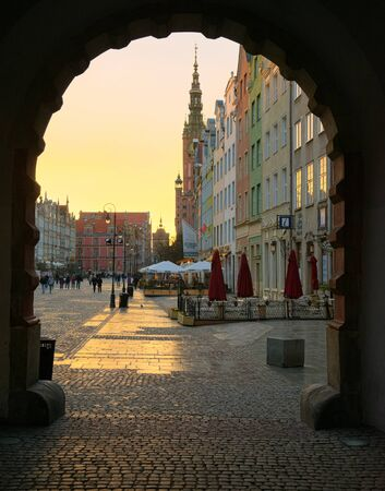 GDANSK, POLAND - APRIL 4, 2017: Streets of historical center, Gdansk is located in northern Poland and is very popular tourists destination