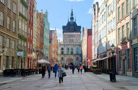 GDANSK, POLAND - APRIL 6, 2017: People walking on streets in historical center of Gdansk