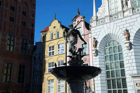 GDANSK, POLAND - APRIL 6, 2017: Fountain of the Neptune in old town of Gdansk Editorial