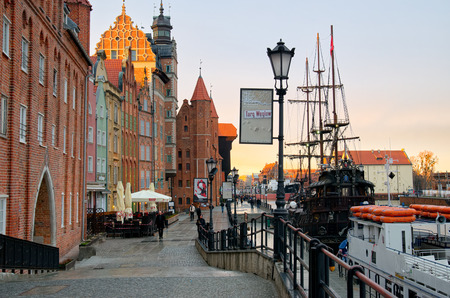 GDANSK, POLAND - APRIL 5, 2017: Streets of historical center, Gdansk is located in northern Poland and is very popular tourists destination