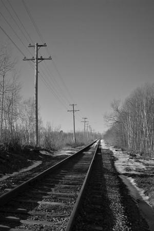 Old train tracks in New Glasgow, Nova Scotia.