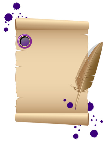 Old paper with feather Vector