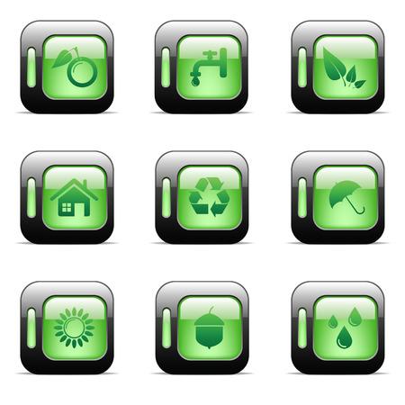 Environmental and recycling vector icons set Stock Vector - 6514434