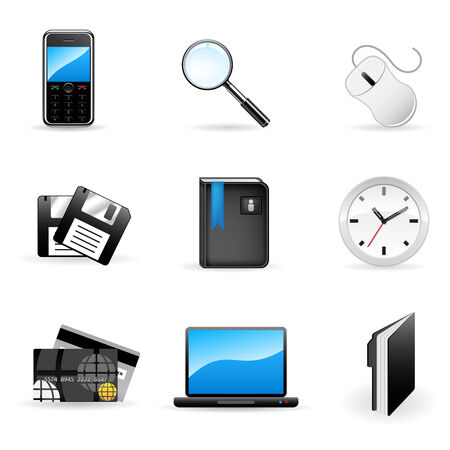 working in office: Office and business vector icons set
