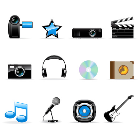 Media vector icons set Stock Illustratie