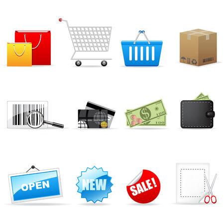 Vector shopping icons set Stock Vector - 6567387