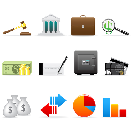 safety check: Conjunto de icono de finanzas de vector