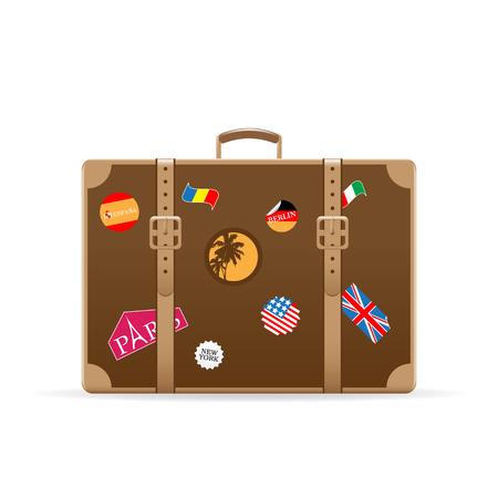 Maleta de vector con pegatinas de viajes