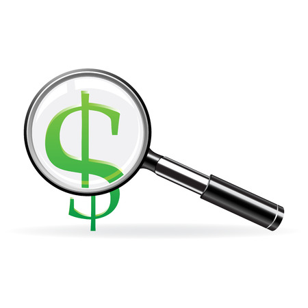 Magnifier and sign of dollar. Abstract finance symbol Vector