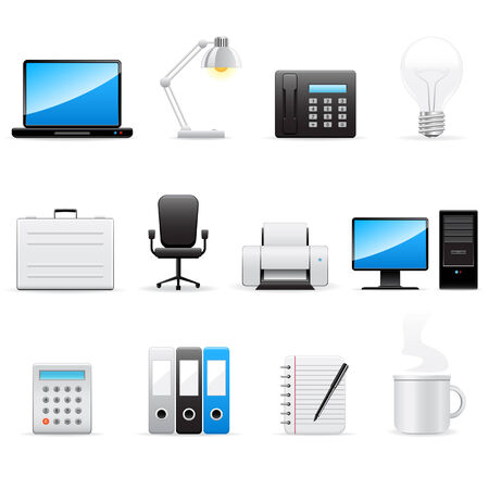 information technology icons: Office and business vector icons set
