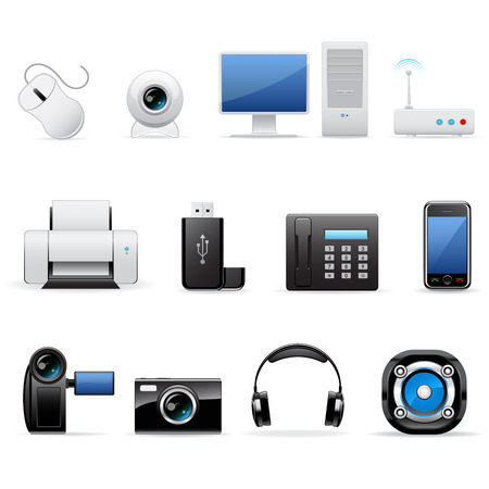 Computers and electronics icons Vector