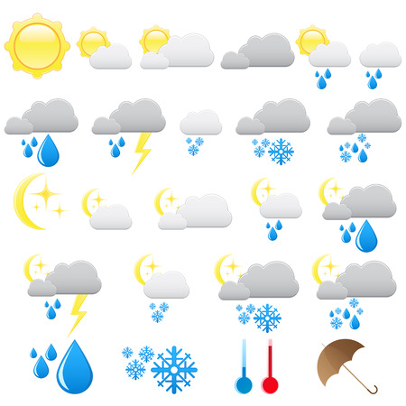 Weather and meteo icons Vector