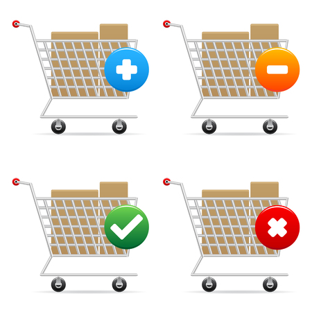 supermarket checkout: shopping carts icons