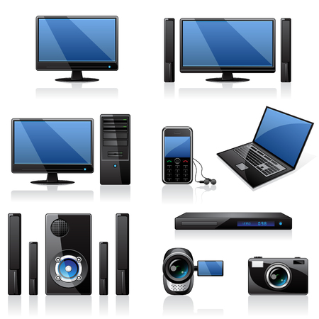 home video camera: Computers and electronics icons