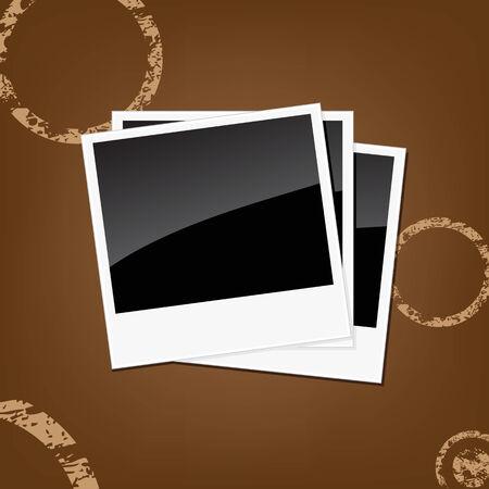 white polaroids: Polaroids on a brown background