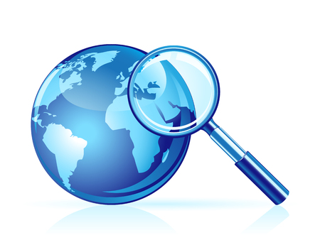 Global search icon. Magnifier and globe Vector