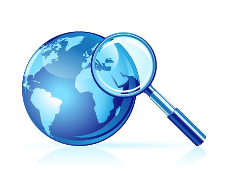 Globale zoek pictogram. Vergroot glas en wereld bol  Stock Illustratie