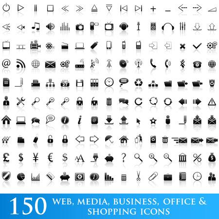 150 Web, media, bedrijf, kantoor en winkel icons set