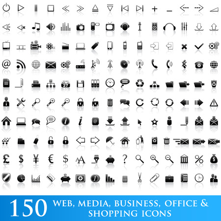 folder icons: Set of 150 web, media, business, office and shopping icons