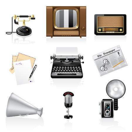 Communication icons. Retro style Illustration