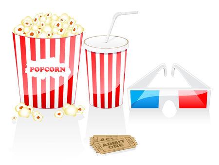 glases: Cinema elements isolated on white Illustration