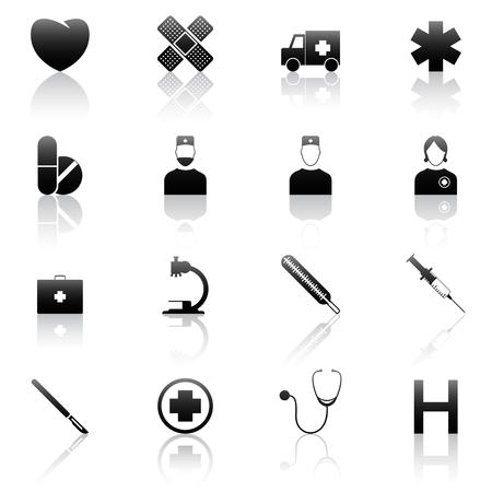enfermera quirurgica: Conjunto de 16 m�dicos iconos