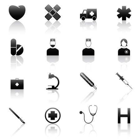 medicine icon: Set of  16 medical icons   Illustration