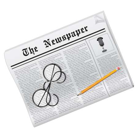 News. Newspaper, glasses and pencil on white