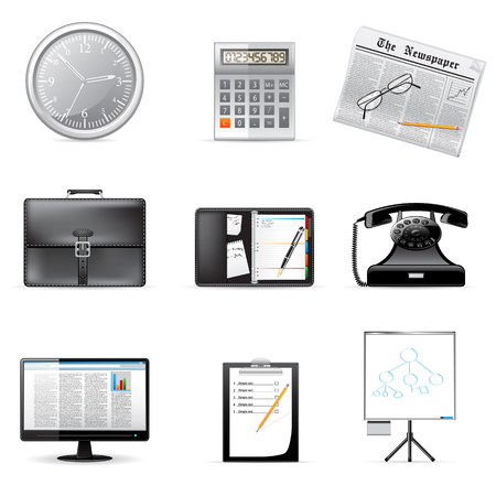 clipboard: Business and office icons  Illustration