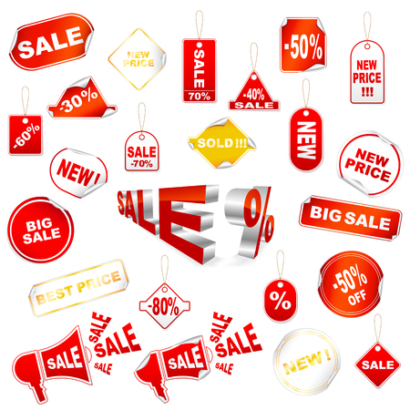 sale icons: set of red sale icons  Illustration