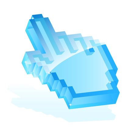 clic: Illustration of a blue hand cursor