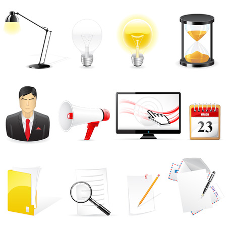 Set of  office and business icons  Stock Vector - 6894125