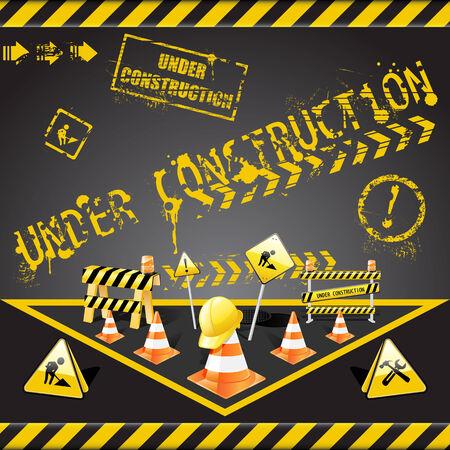 construction sign:  set of  under construction elements