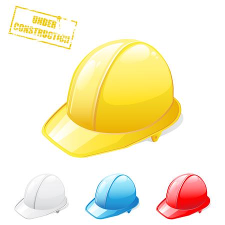 casco rojo: Ilustración de cascos de seguridad  Vectores