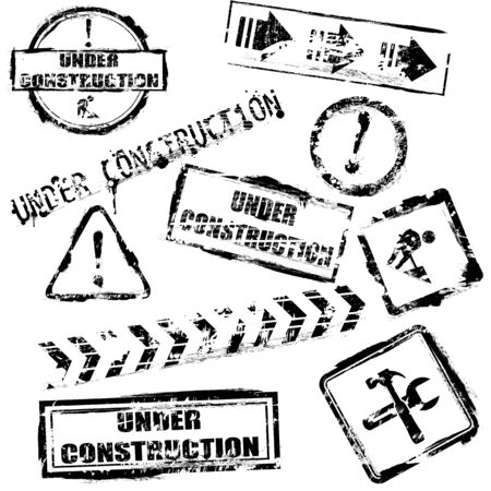 Set of black under construction stamps  Vector