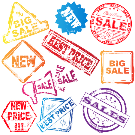 Set of colored sale stamp over white