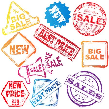 sales representative: Set of colored sale stamp over white
