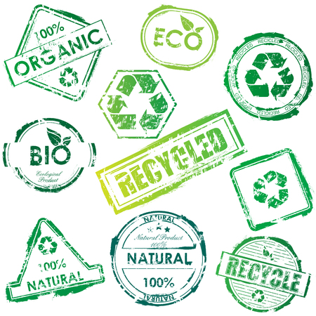 ecologic: Set of green bio and eco stamps Illustration