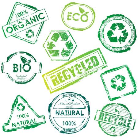 Set van groene bio- en eco-post zegels  Stock Illustratie
