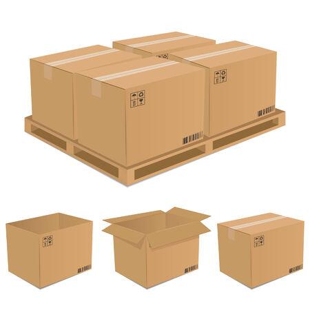 Zestaw pudełkach kartonowych  Ilustracje wektorowe