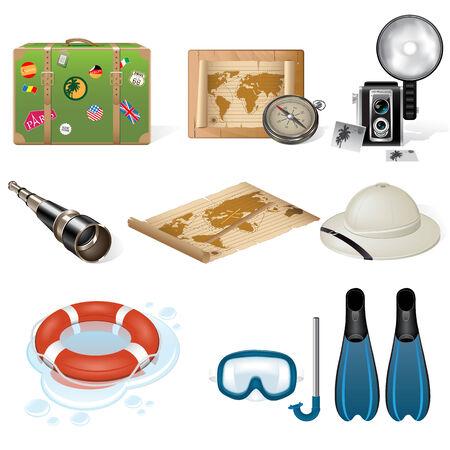 Set of travel icons. Retro style Illustration