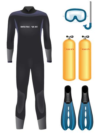 water sport: Set of diving equipment over white.  illustration