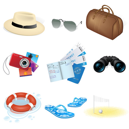 illustratie van vakantie en reizen pictogrammen