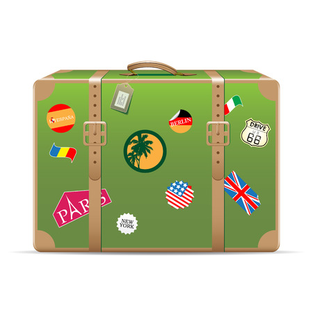 retro sticker: Vintage suitcase with travel stickers