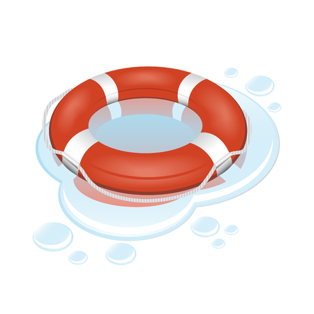 red and white lifebuoy with water over white Stock Vector - 7912480