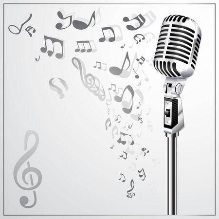 microfono antiguo: Fondo musical con micr�fono retro